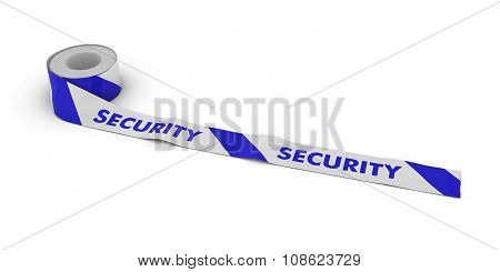Security Barrier Tape Roll Unrolled Across White Floor