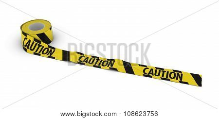 Yellow And Black Striped Caution Tape Roll Unrolled Across White Floor