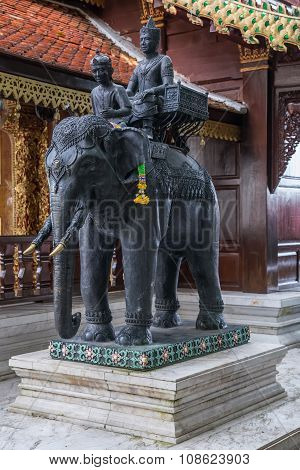 Statue Of Elephant Riders At Wat Phrathat Doi  Suthep