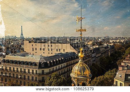 Old Postcard With Aerial View From Paris, France