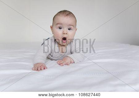 Baby Boy Lying On Belly