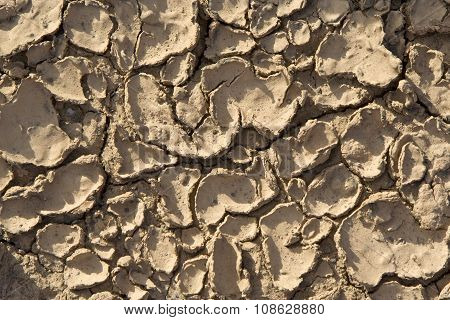 cracked loam by heat and water gives a harmonic background