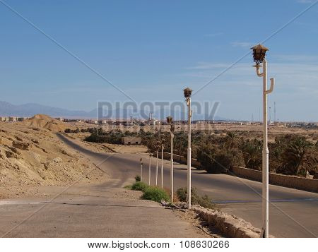 Lampposts Along The Road In The Desert City