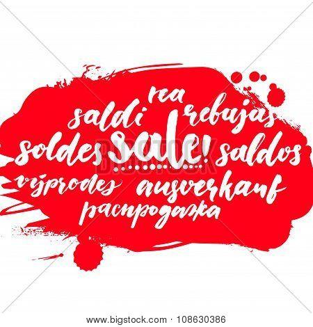 Sale word in different european languages. Soldes, soldi, rebujas, saldos, ausverkauf and rea. Red c