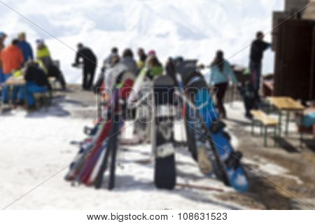 Blurred Outdoor Cafe At Ski Resort Not In Focus
