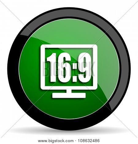16 9 display green web glossy circle icon on white background