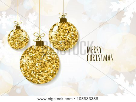 Vector Christmas Or New Year Greeting Card Template With Golden Glitter Christmas Balls.