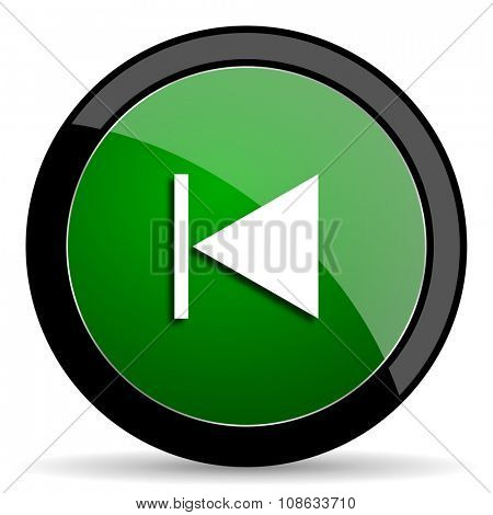 prev green web glossy circle icon on white background