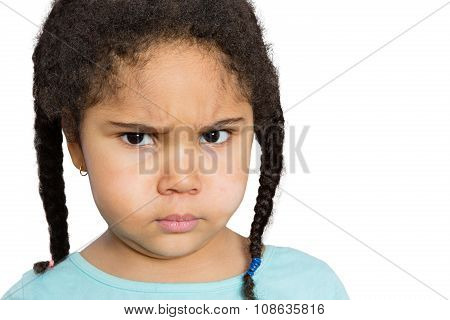 Angry Girl Staring At You Against White Background