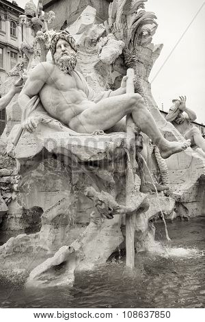 Zeus In Bernini's Fountain Of The Four Rivers, Rome.