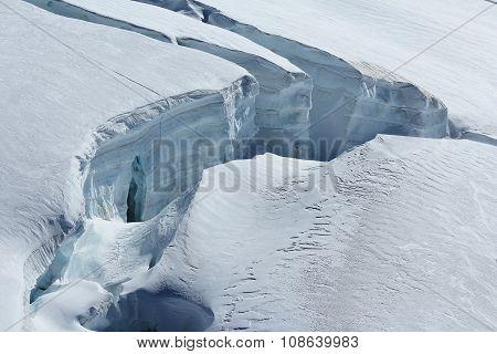 Big Crevasse On The Aletsch Glacier