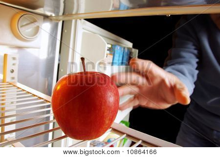 Apple On Fridge