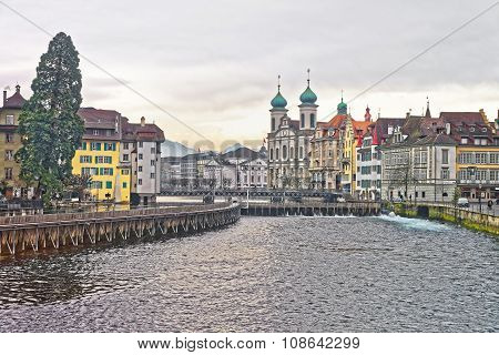 Jesuit Church along the river Reuss in the old part of Lucerne Switzerland. The Lucerne Jesuit Church is the first large baroque church built in Switzerland north of the Alps.