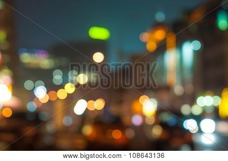 Colorful night of abstract bokeh and blured lighhts from New York City street