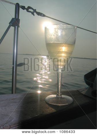 Wine At Sunset On The Bow