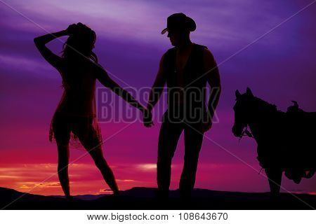 Silhouette Woman In Sheer Dress With Cowboy And Horse