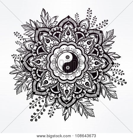 Ornate flower with Yin and Yang symbol.