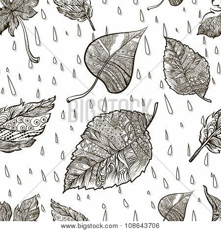 Seamless vector background black and white doodle autumn foliage