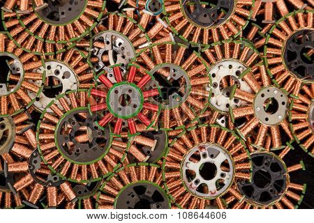 Copper coils, industrial background