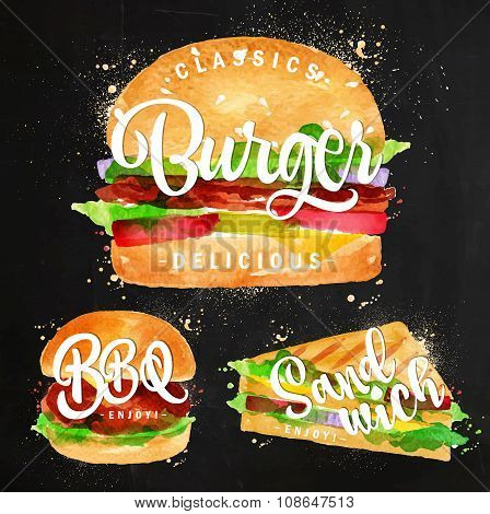 Set of classic burger bbq burger and sandwich drawing with color paint on chalkboard. poster