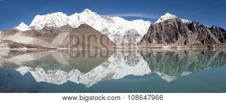 view of Cho Oyu mirroring in lake - Cho Oyu base camp - Everest trek - Nepal poster