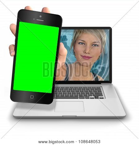 Computer Girl With Green Screen Iphone