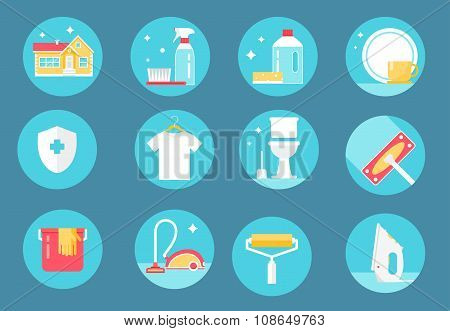 Home Cleaning Service, Agents and Tools Icons. Flat Design