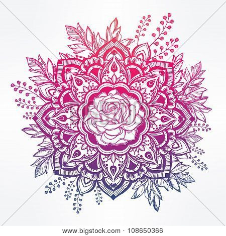 Hand drawn ornate rose flower with leaf crown.