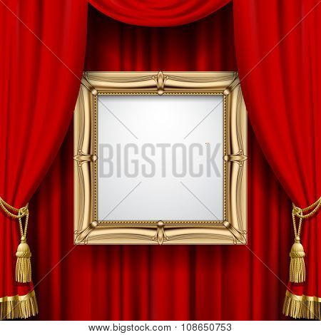 Suspended gold frame on the red curtain background. Square presentation artistic poster and placard. Vector illustration