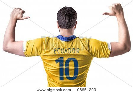 Ecuadorian soccer player player on white background