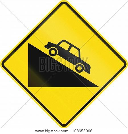 New Zealand Road Sign Pw-27 - Steep Downward Grade