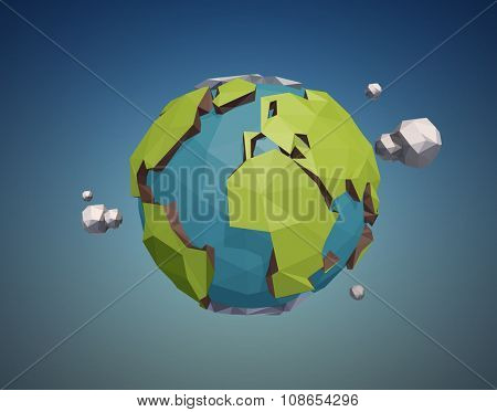 Vector low poly earth globe illustration.