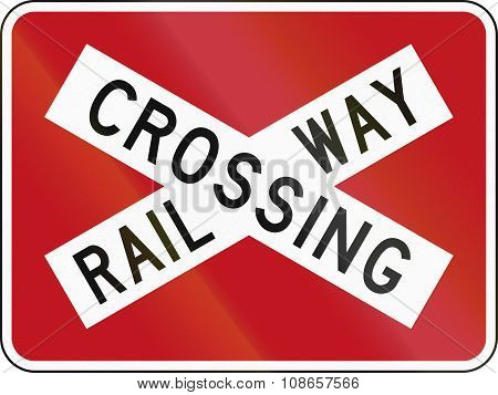 New Zealand Road Sign Pw-14 - Railway Crossbuck (with Target Board)