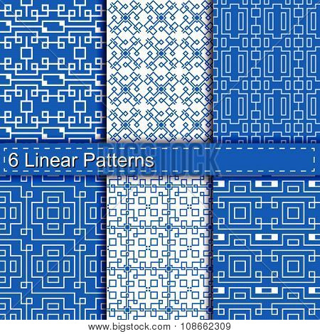 Set of six linear patterns seamless.pattern swatches included. poster