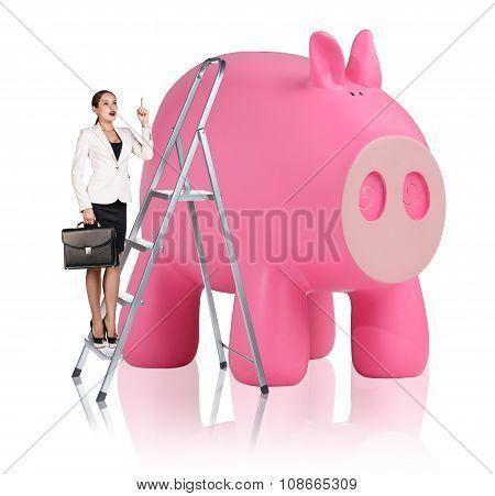 Woman rises up on the stepladder near piggy bank