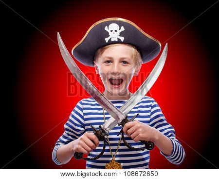 Little pirate boy with cutlass
