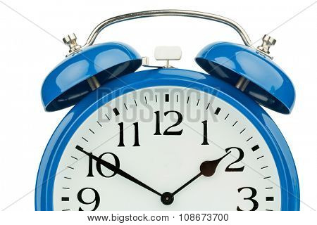a blue alarm clock on a white background. mikt white dial