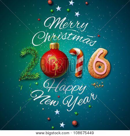 Merry Christmas 2016 greeting card