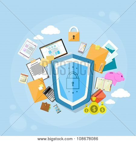 Shield Safe Data Protection Concept Privacy Computer Internet Information