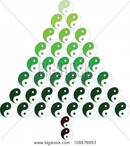 Christmas Tree With Yin And Yang Symbol