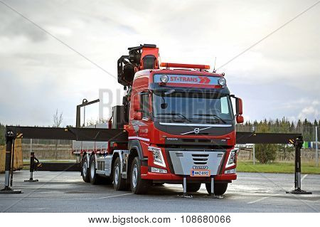 Red Volvo FM Truck Equipped With Heavy Crane