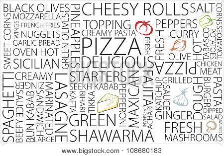 Words related to pizza restaurant, hot and delicious, eat healthy live healthy