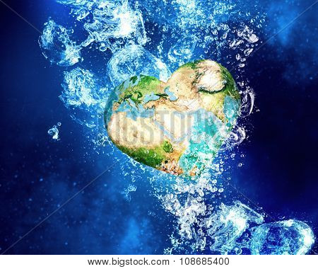 Earth planet sinking in clear blue water. Elements of this image are furnished by NASA