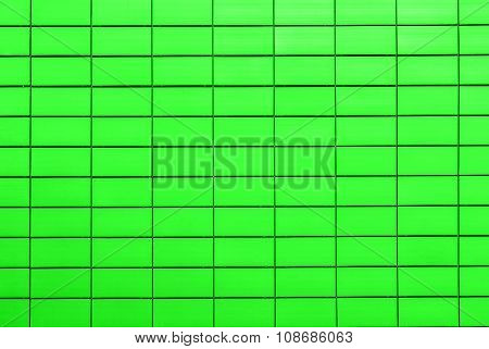 Texture of acid green decorative tiles in form of brick poster