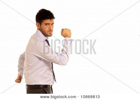 Young Businessman Cheerful Strong Gesture With Two Hands Copy-space Isolated On White Background
