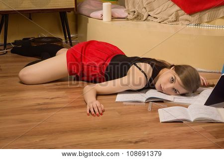 Lifeless College Girl In A Room