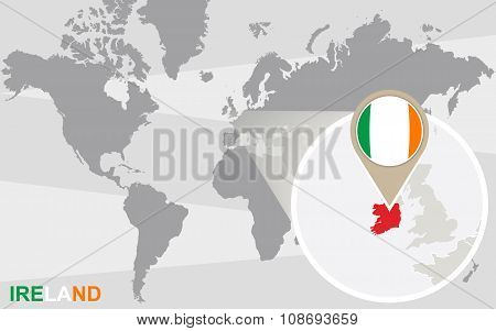World Map With Magnified Ireland