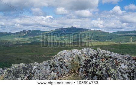 Top peak of snake mountain range in Zamora, Spain poster