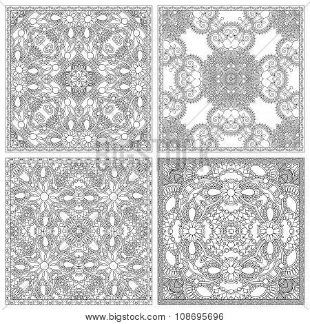 set of unique coloring book square page for adults - floral auth