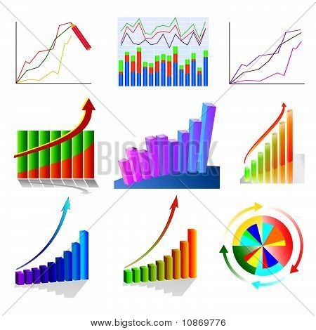 A set of color business charts